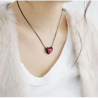 Fashion Cute Red Double Heart Pendant Chain Necklace