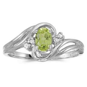 White Gold August Birthstone Oval Peridot And Diamond Ring Jewelry
