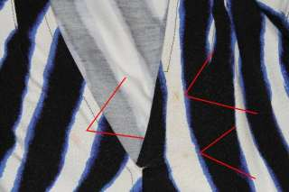 Furstenberg Black White Blue Zebra Print Short Sleeve Wrap Dress Sz 4