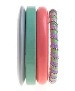 null (Multi Col) Rainbow Bangle Set  244222199  New Look