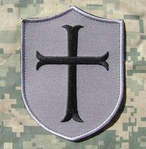 CROSS CRUSADER SHIELD ARMY MORALE MILSPEC ACU DARK VELCRO PATCH