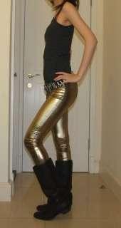 Shiny Gold FULL LENGTH Leggings Tight Pants Rock pt166