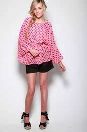 Evening Tops   Honor Polka Dot Chiffon