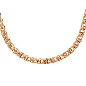 Steel 5mm Spiga Chain Rose Gold Plated Necklace, 24 Jewelry