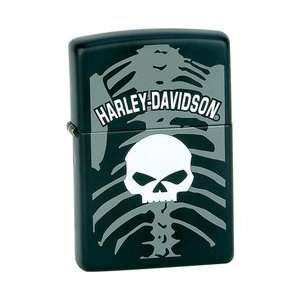 New Zippo Lighter Matte Black Finish With Harley Davidson Logo Skull