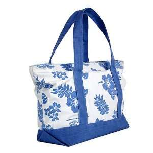 Hawaiian Aloha Blue Hibiscus and Palm Tree Canvas Bag