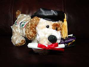 NWT Dan Dee Collectors Choice Graduation A+ Grad Plush Dog Doll 8