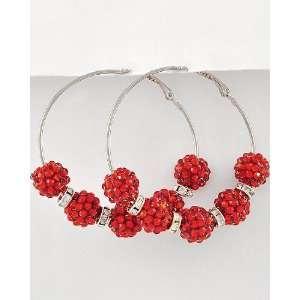 Basketball Wives Inspired Hoop Earrings ~ Red Fireball