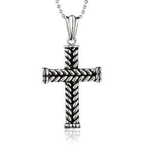 Mens Stainless Steel Braided Cross Necklace Jewelry