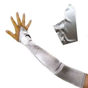 23 Long Silver Fingerless Satin Opera Stretch Bridal Gloves Above the