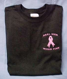 Real Men Wear Pink Breast Cancer Awareness T Shirt S XL