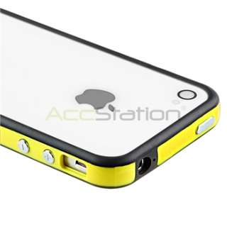 Yellow/Black Bumper w/ Button TPU Gel Case Cover+PRIVACY FILTER for