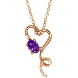 0.45 Ct Oval Purple Amethyst 14k Rose Gold Pendant Jewelry