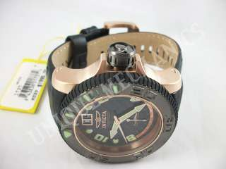 Invicta 1737 Sea Hunter Stainless Steel Rose Tone Leather Watch