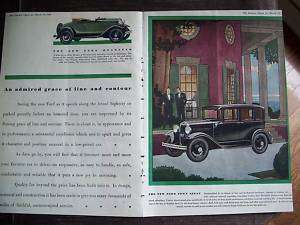 1930 Green Ford Roadster Town Sedan Car Two Page Ad