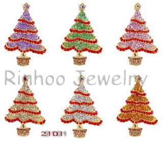 Christmas Tree Rhinestone Gold Plated 37*55MM Brooch