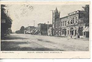 HICKSVILLE OHIO DOWNTOWN HIGH STREET ANTIQUE VINTAGE POSTCARD WATERLOO