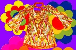 Trompetenärmel AbbA Retro Kleid Revival 70er Jahre 42