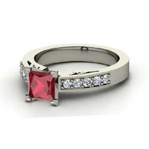 Dawn Ring, Princess Ruby 14K White Gold Ring with Diamond