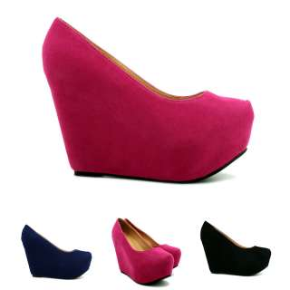 SUEDE STYLE WEDGE HEEL CONCEALED PLATFORM COURT SHOES SIZE