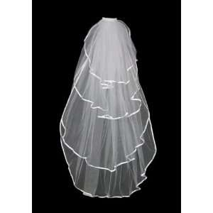 4t White Beautiful Bridal Wedding Veils Fingertip with Ribbon Edge