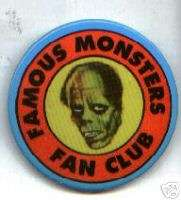 FAMOUS MONSTERS fan club pin pinback button