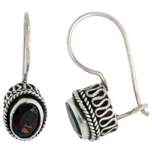 Sterling Silver Bali Style Earrings, w/ 7 x 5 mm Oval Cut
