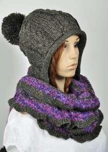 Thick & Warm Wool Womens Unisex Winter Ski Hat Cap Scarf One piece