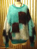 FUZZY!COOL! LONGHAIR MOHAIR SWEATER HAND KNIT WARM! MULTI  COLOR SZ. L