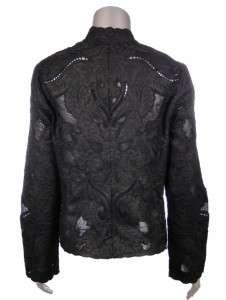 Sutton Studio Womens Linen Floral Mesh & Eyelet Shirt Jacket Topper