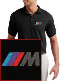 BMW M Power EMBROIDERED Logo Black Polo Shirt NEW