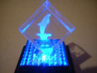 3D Laser Etched Crystal Cube w/Led Color Changing Base Dolphin