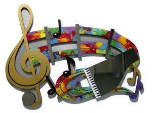 Beautiful Bold Music Themed Art Notes & Mirrored Piano Wood Metal Wall