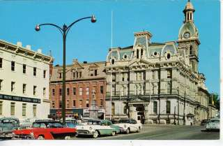 CARS WOOSTER OHIO DOWNTOWN STREET SCENE VINTAGE POSTCARD NATIONAL BANK