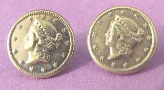 Vintage Gilt Brass Liberty Head Gold Quarter Dollar Coin LIKE