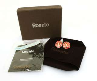 ROSATO SIGNED 18K GOLD DIAMONDS & ENAMEL EARRINGS NWT BOX RETAIL $810