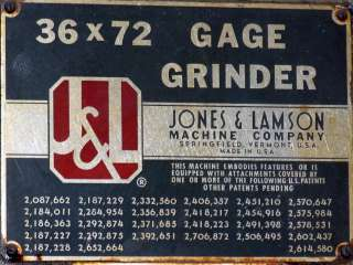 Jones & Lamson 36x72 Internal External Thread Grinder