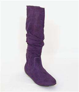 Womens Flats micro Suede Slouch Boots Shoes Knee High