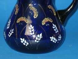 Victorian Cobalt Blue & Enamel Art Glass Pitcher c.1880
