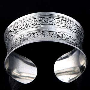 vintage wide tibet silver carved lucky flower totem cuff bangle