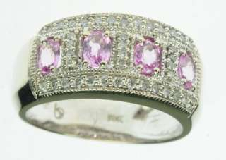 LADIES 14K SOLID WHITE GOLD PINK SAPPHIRE DIAMOND BAND ESTATE RING