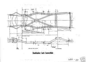 1961 Studebaker Lark Convertible NOS Frame Dimensions