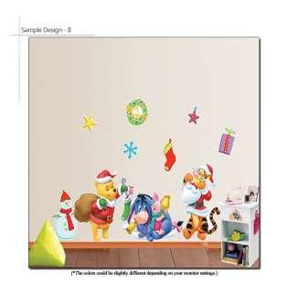 DISNEY SANTA POOH TIGGER Childrens Wall Decor Sticker