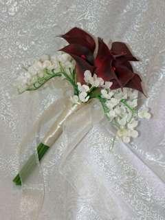 Burgundy Wine Calla Lily Lilies BRIDAL Bridesmaid BOUQUET Silk Wedding