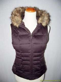 Calvin Klein Puffer Down Vest Jacket S Brown Quilted Faux Fur Hood