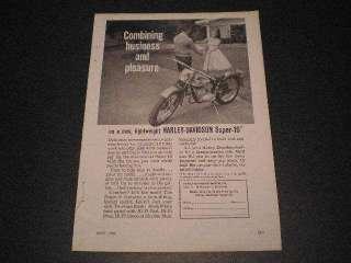 1960 Harley Davidson Super 10 Motorcycle Ad