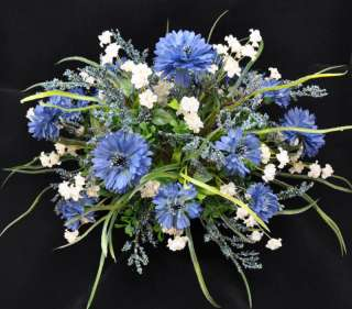 Country Blue and White Centerpiece Floral Arrangement