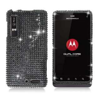Black DIAMOND Rhinestone BLING Case for Motorola DROID III 3 XT862