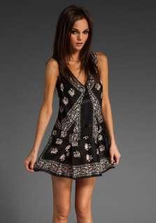 ANNA SUI Edwardian Floral Tank Dress in Black Multi at Revolve
