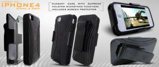 CASE+SCREEN PROTECTOR+ BELT CLIP HOLSTER FOR iPHONE 4S
